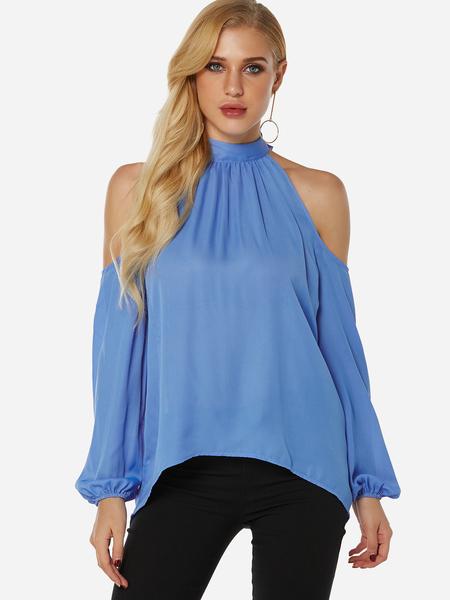 Yoins Blue Lace-up Design Halter Long Lantern Sleeves Top