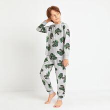 Conjunto de pijama camiseta con estampado de dinosaurio con pantalones