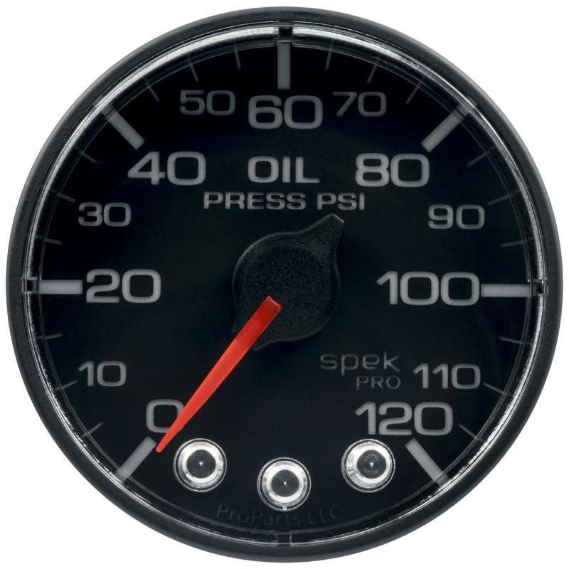 AutoMeter GAUGE; OIL PRESS; 2 1/16in.; 120PSI; STEPPER MOTOR W/PEAK/WARN; BLK/BLK; SPEK