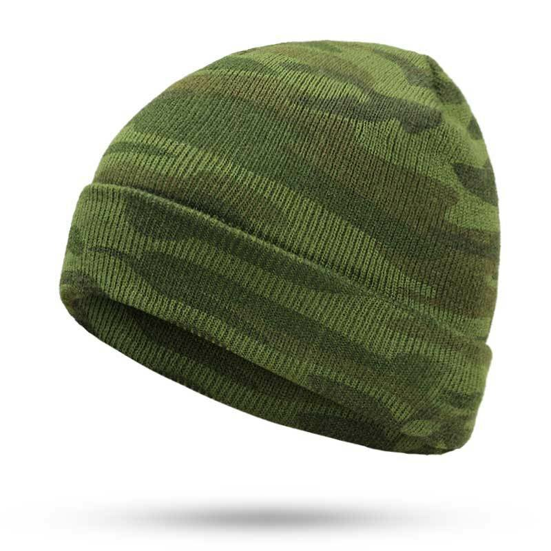 Men's Camouflage Wool Hat Ear Protection Knitted Beanie Windproof Hat