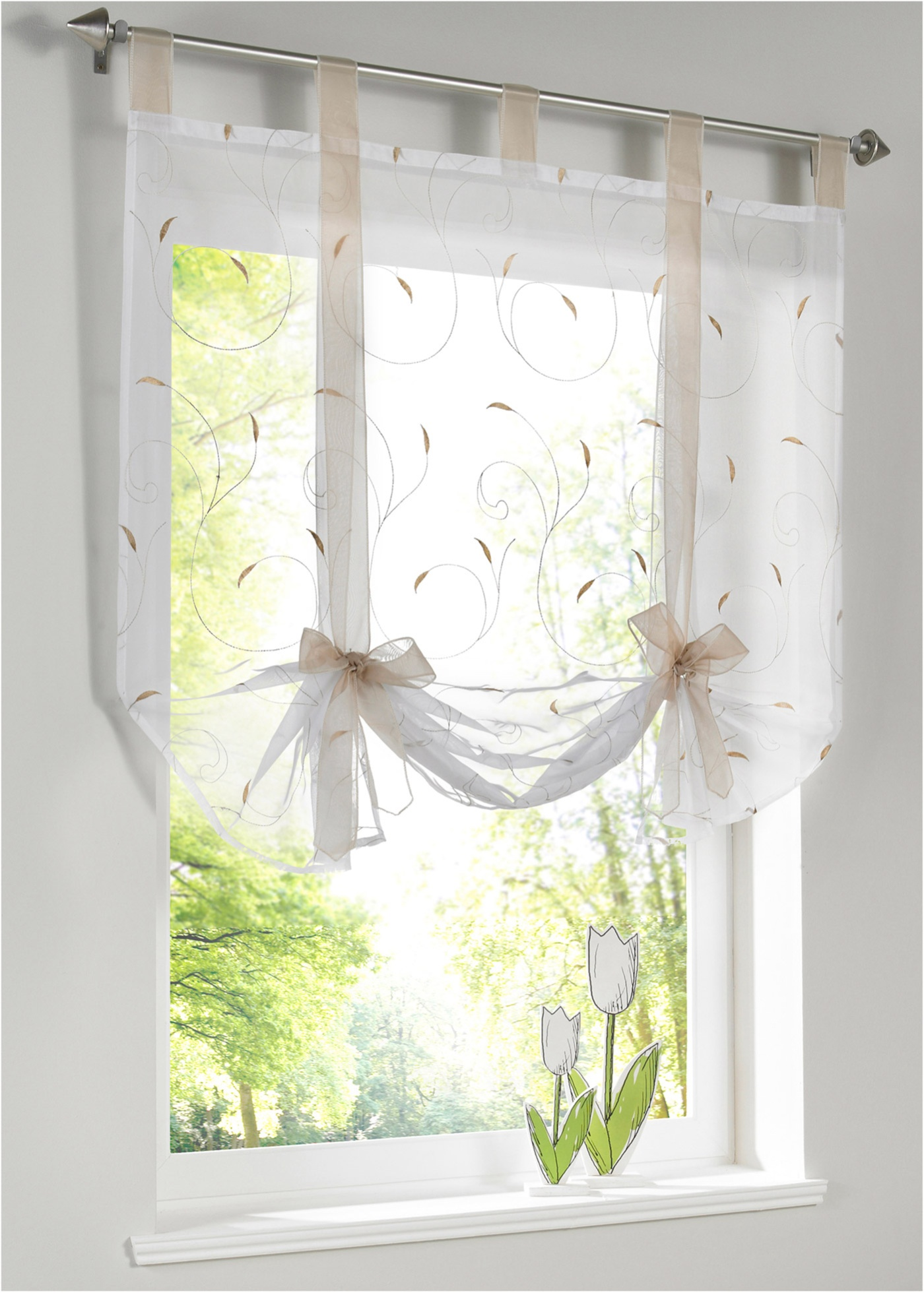 Printed-Line Shade Pastoral Style Window Decor for Kitchen