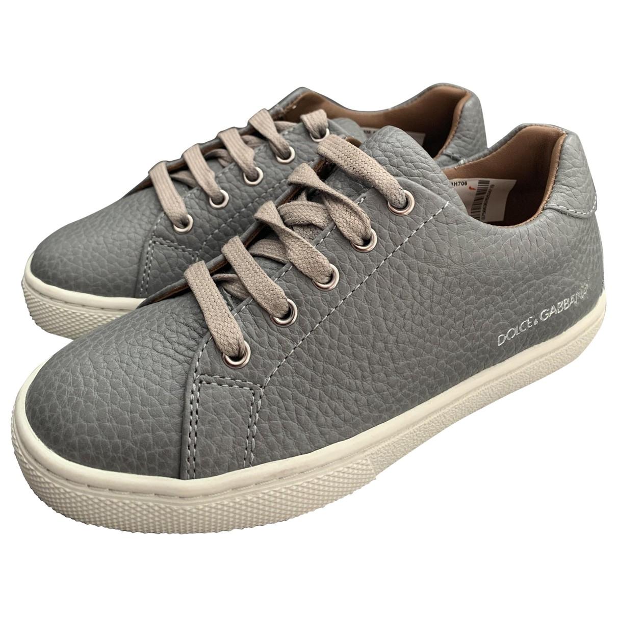Dolce & Gabbana \N Grey Leather Trainers for Kids 28 EU