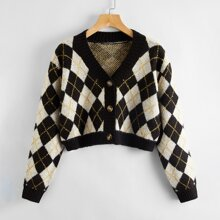 Button Up Argyle Crop Cardigan