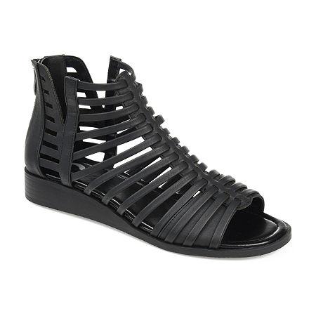 Journee Collection Womens Delilah Gladiator Sandals, 7 Medium, Black