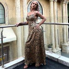 vestido de tirantes con estampado de leopardo