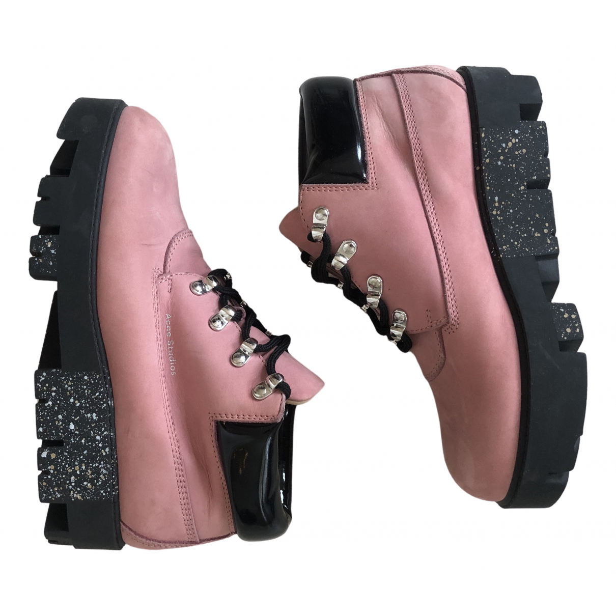 Acne Studios \N Pink Leather Ankle boots for Women 38 EU