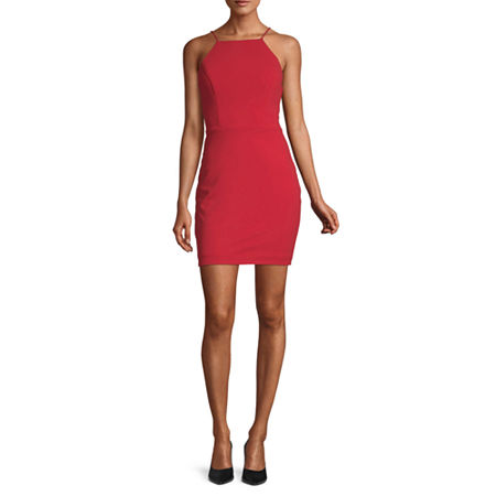 City Triangle-Juniors Sleeveless Cut Outs Bodycon Dress, 11 , Red