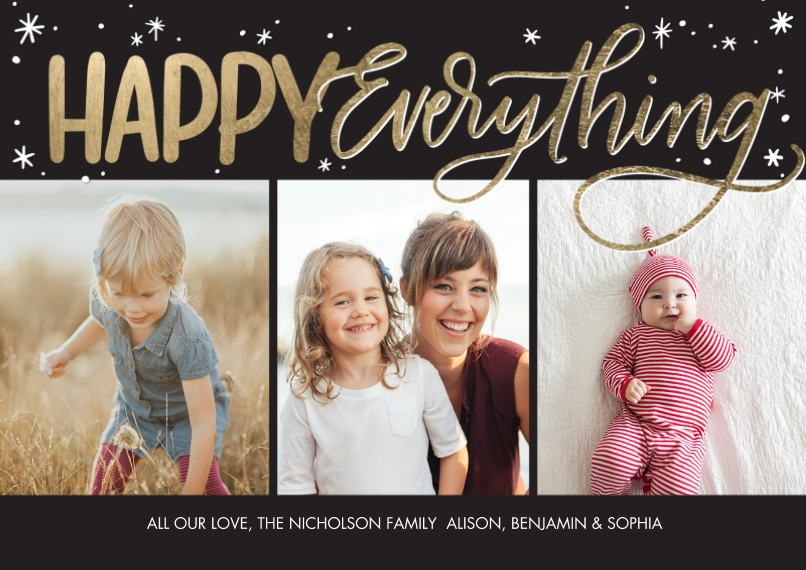 Christmas Photo Cards 5x7 Cards, Premium Cardstock 120lb with Elegant Corners, Card & Stationery -Holiday Stars Happy Everything by Tumbalina