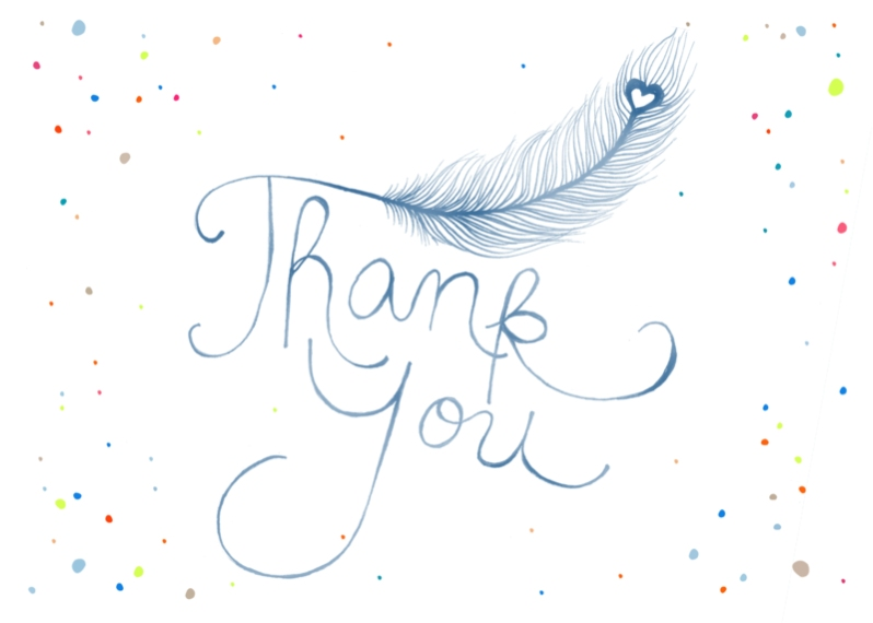 Thank You Cards Flat Glossy Photo Paper Cards with Envelopes, 5x7, Card & Stationery -Feather Thank You