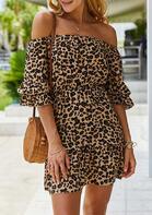 Presale - Leopard Ruffled Off Shoulder Mini Dress
