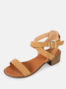 Strappy Ankle Low Block Heel TAN