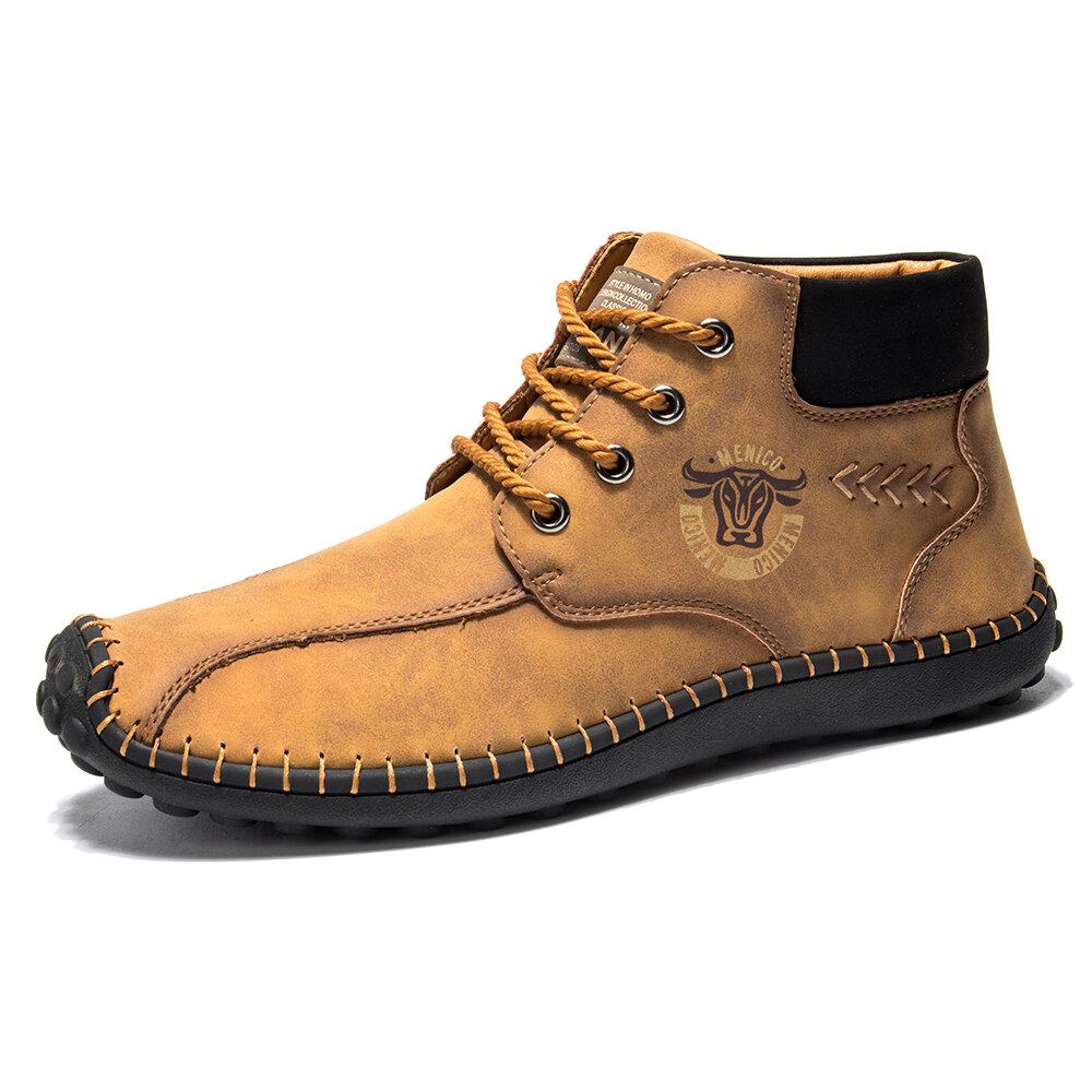 Menico Men Hand Stitching Microfiber Leather Vinatge Ankle Boots