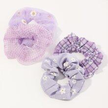 4pcs Daisy Pattern Scrunchie