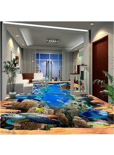 3D Wooden Crack Dolphins and Fishes Pattern Waterproof Nonslip Self-Adhesive Blue Floor Art Murals