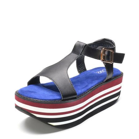 Yoins Black Stripe T-bar Platfrom Sandals