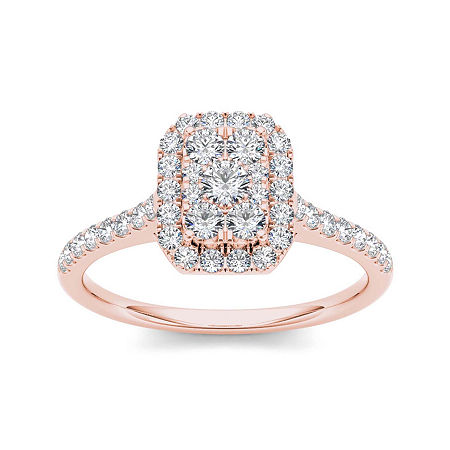 3/4 CT. T.W. Diamond 10K Rose Gold Square-Shaped Engagement Ring, 9 , No Color Family
