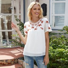 Swiss Dot Floral Embroidery Blouse