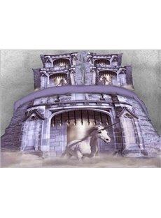 Vivilinen 3D White Unicorn Printed Cotton 4-Piece Bedding Sets/Duvet Covers