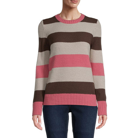 St. John's Bay Womens Crew Neck Long Sleeve Pullover Sweater, Small , Multiple Colors