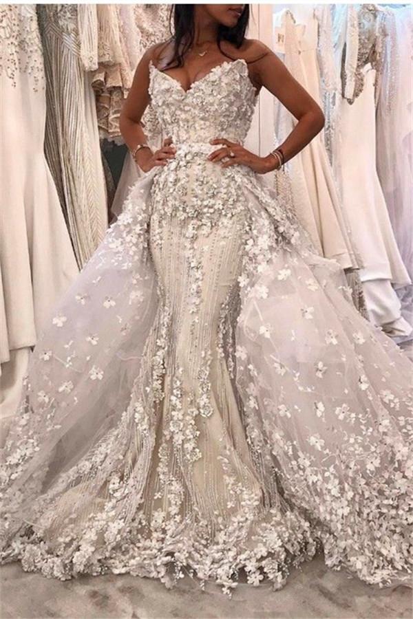 Vestido de novia de lujo con sirena blanca y correa de espagueti con sobrefalda de encaje