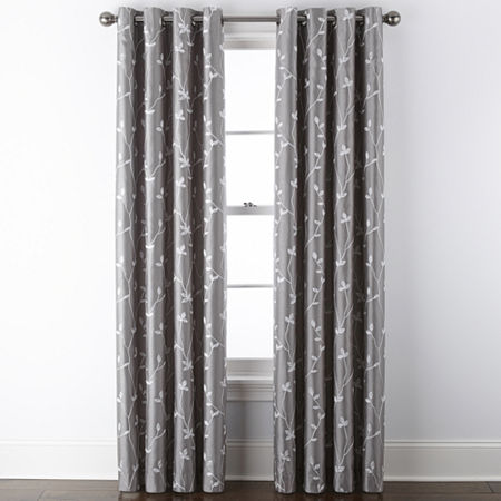 JCPenney Home Malone Leaf Embroidered Blackout Grommet-Top Single Curtain Panel, One Size , Gray