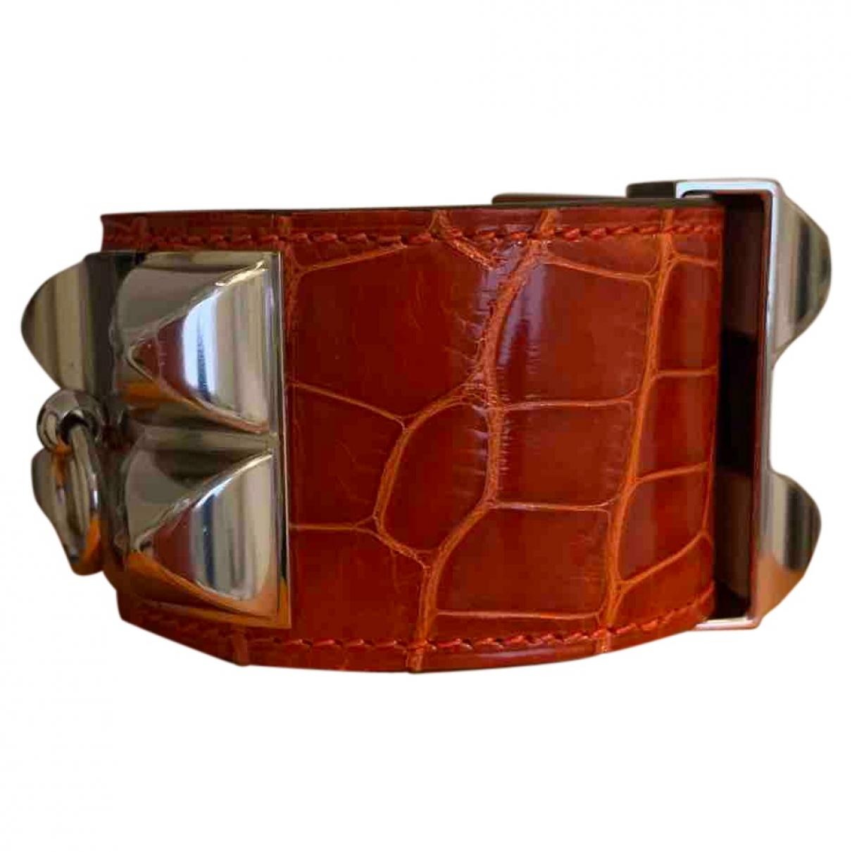 Hermes Collier de chien  Armband in  Orange Aligator