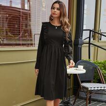 Einfarbiges A-Linie Kleid mit Rueschen