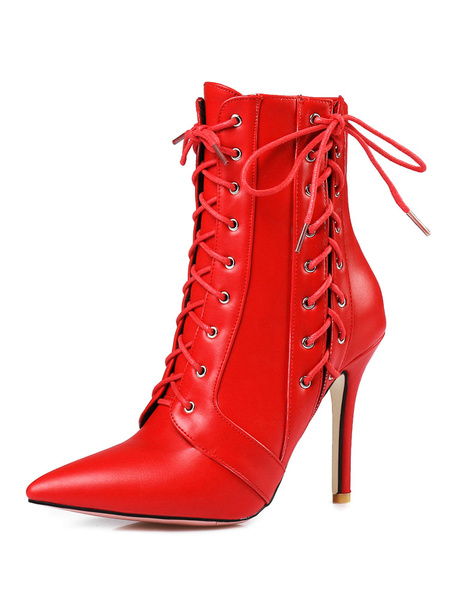 Milanoo High Heel Booties Red Ankle Boots Pointed Toe Lace Up Booties For Women