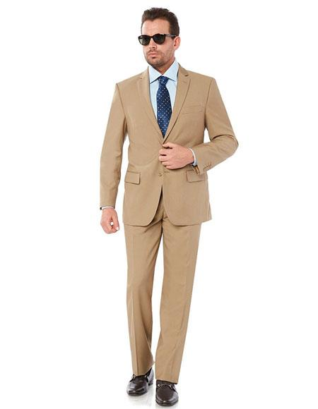 Giorgio Fiorelli Men's Single Breasted 2Button 2Piece Lined Camel Suit