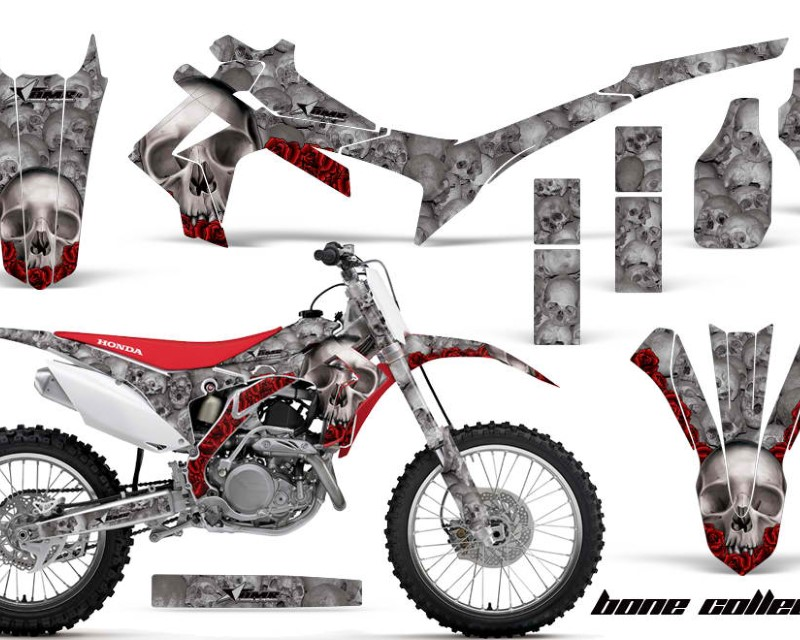 AMR Racing Dirt Bike Graphics Kit Decal Sticker Wrap For Honda CRF450R 2013-2016áBONES SILVER