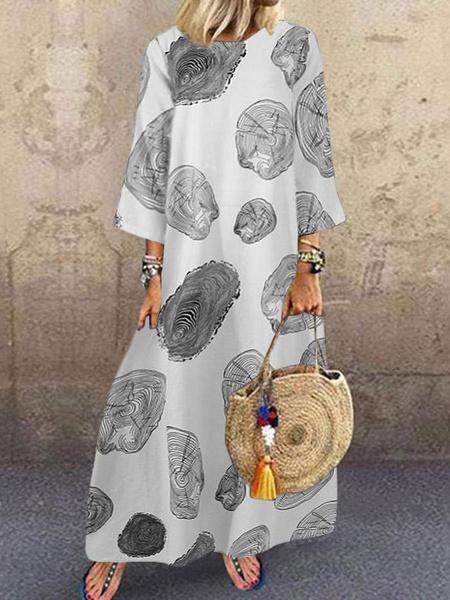 Milanoo Vestido largo estampado con mangas 3/4 y cuello joya blanco para mujer