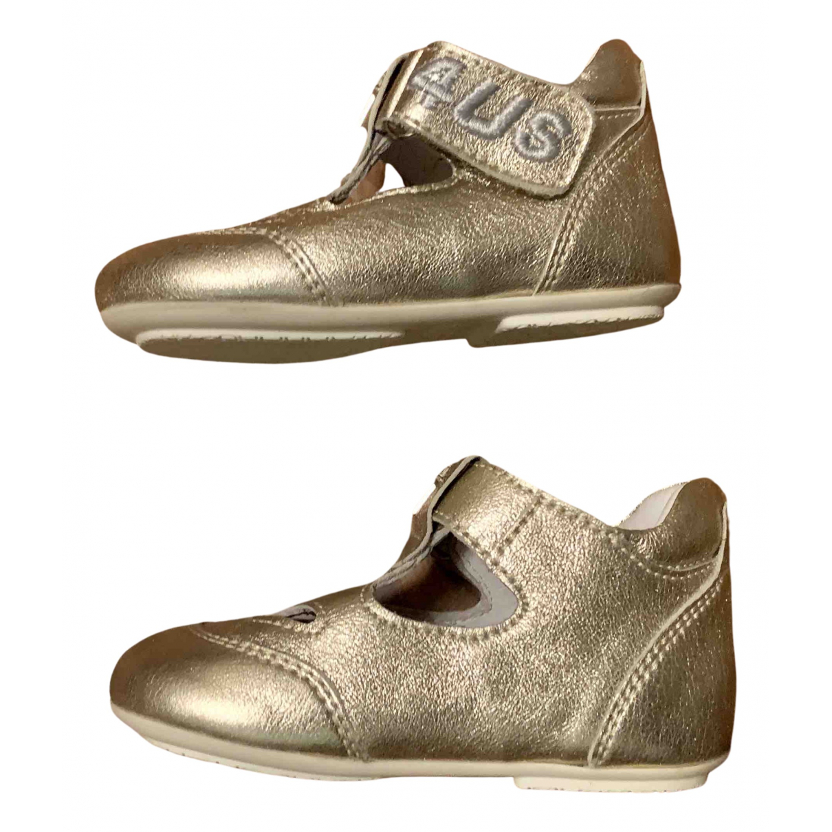 Cesare Paciotti N Gold Leather First shoes for Kids 18 FR