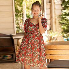 Allover Floral Print Sweetheart Neck Dress