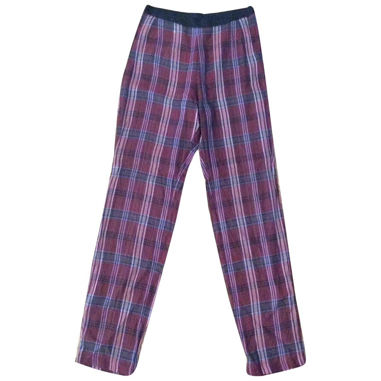 Dries Van Noten N Burgundy Silk Trousers for Women 36 FR