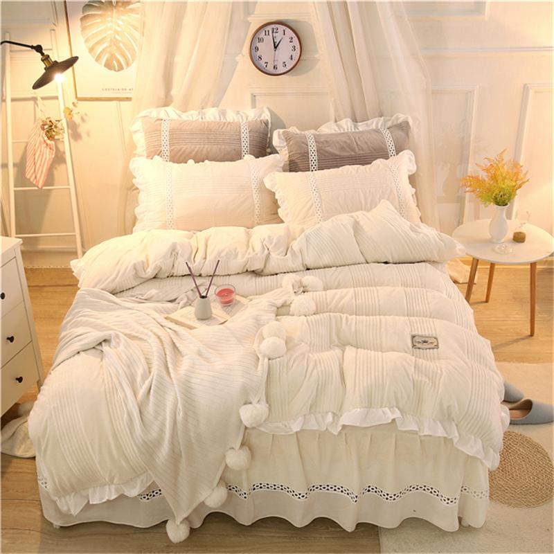 Pure Color Soft Crystal Velvet Bed Skirt 4-Piece Bedding Sets/Duvet Cover