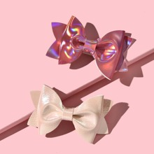 2pcs Toddler Girls Bow Decor Hair Clip