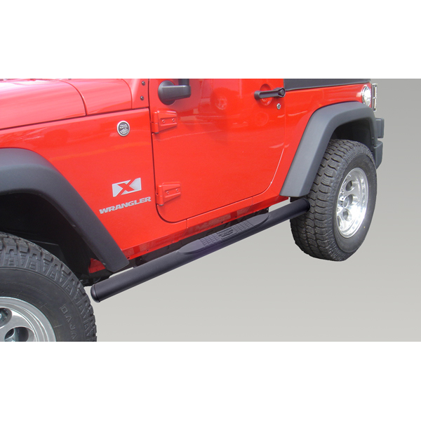 Rugged Ridge 11591.07 Tube Side Step Kit, Oval, 4.25 Inch, Black; 07-18 Wrangler JK, 2 Door Jeep Wrangler 2007-2018