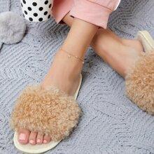 Vegan Shearling Open Toe Slippers