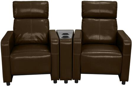 Arcadia Collection 2-PC Push Back Recliner Home Theater Set with Vinyl and Faux Leather Upholstery  Cup Holder  Track Arms and Split Back Cushion in