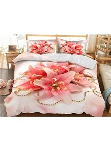 Pink Lilies 3D Floral Duvet Cover Sets Soft 3-Piece Bedding Sets with 2 Pillowcases