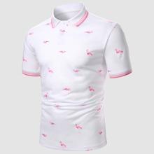 Guys Flamingo Print Polo Shirt