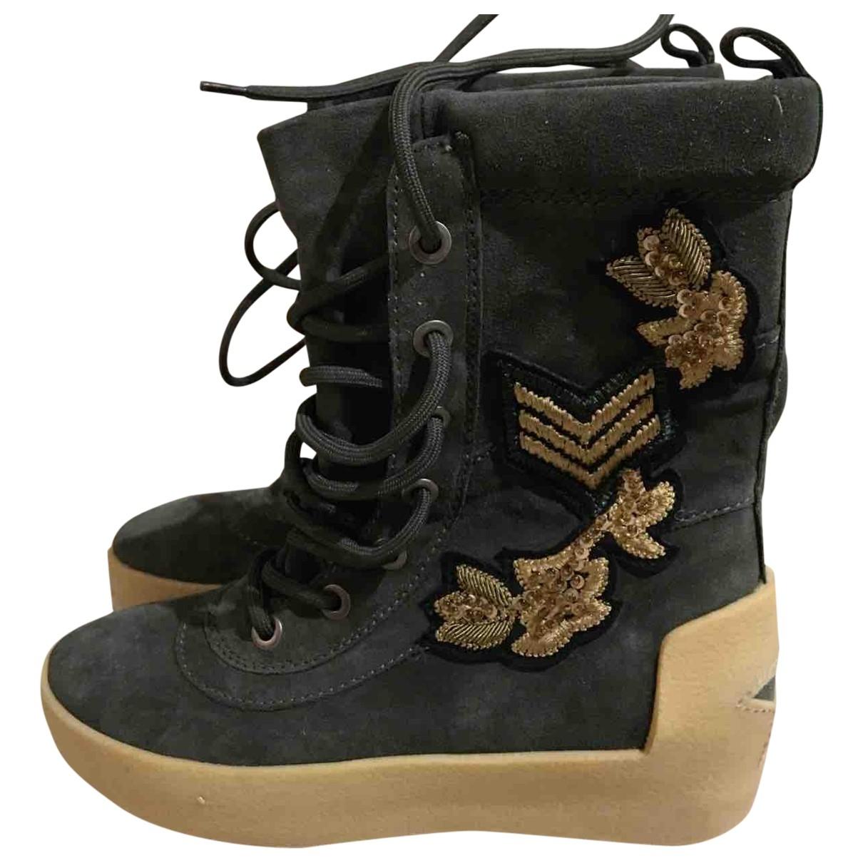 Ash - Boots   pour femme en suede - vert