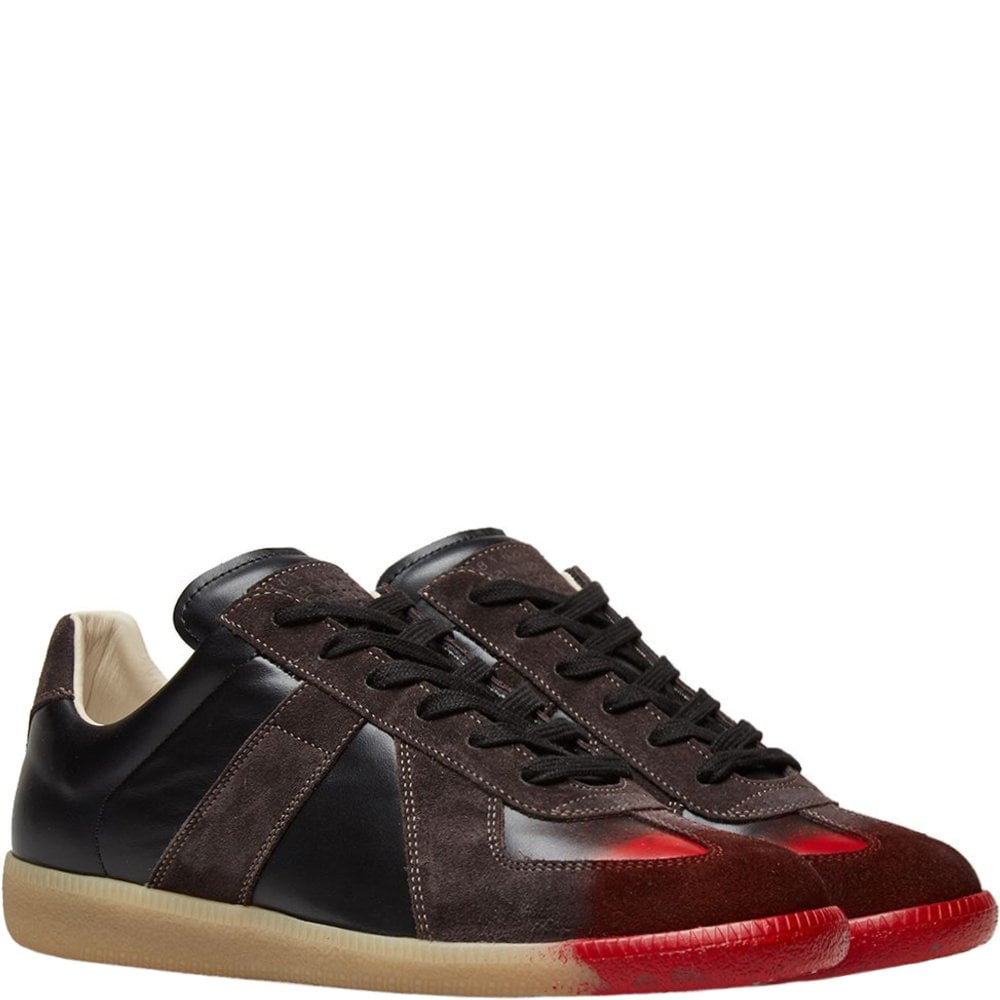 Maison Margiela Replica Red Painted Toe Sneakers Brown Colour: BROWN, Size: 7