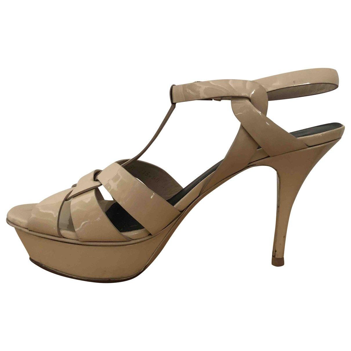 Saint Laurent Tribute Beige Patent leather Sandals for Women 38.5 EU