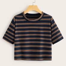 Striped Short Sleeve Ribbed Tee