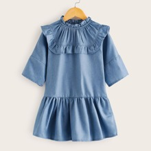 Toddler Girls Ruffle Imitation Cowboy Babydoll Dress
