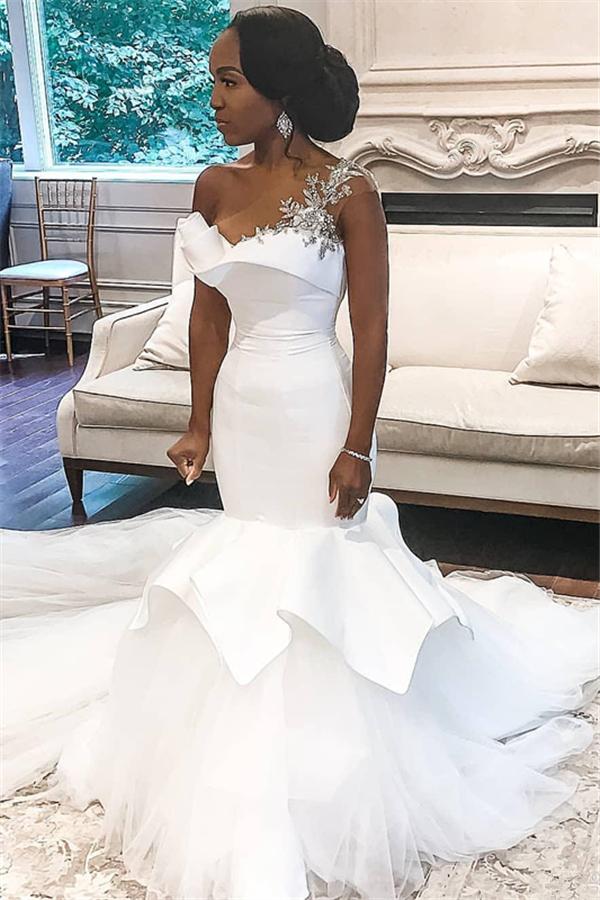 Eine Schulter White Mermaid Brautkleider mit Rueschenzug