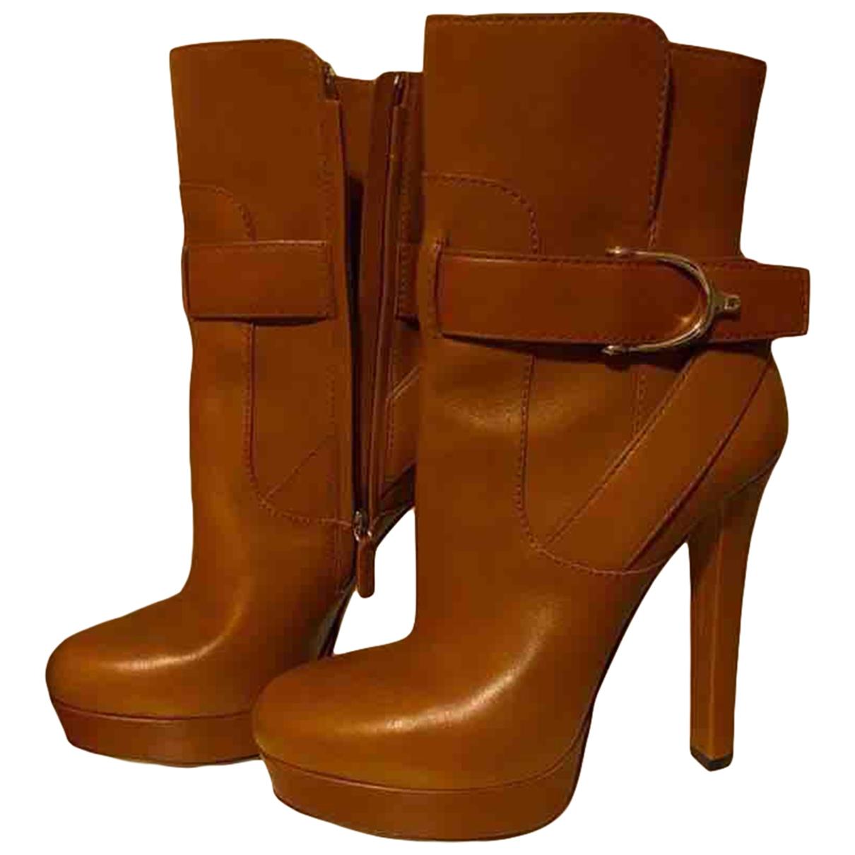Gucci - Boots   pour femme en cuir - camel
