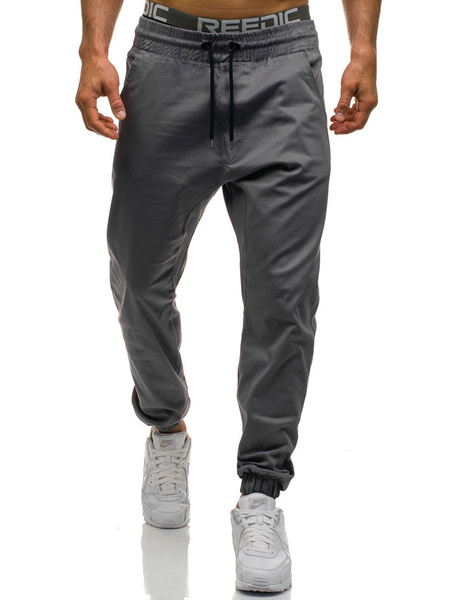 Milanoo Tapered Track Pant Cotton Drawstring Men Jogger Pant