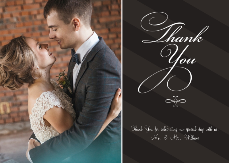 Wedding Thank You 5x7 Folded Cards, Standard Cardstock 85lb, Card & Stationery -Flourishes and Stripes - Thanks